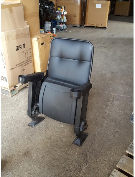 Marquee Reupholstered Home Theater Seating - Black Pleather