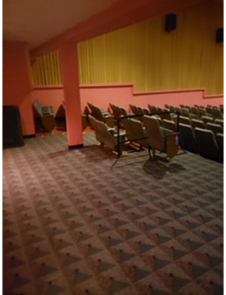 Lot of 400 plus used movie theater chairs - grey with green/grey fabric Quincy IL chairs