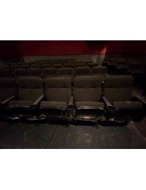 Lot of 300 used black MARQUEE fixed back movie theater chair with cup holder armrest
