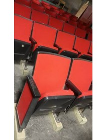 Lot of 35 black movie theater auditorium chairs with cup holder armrests with red fabric